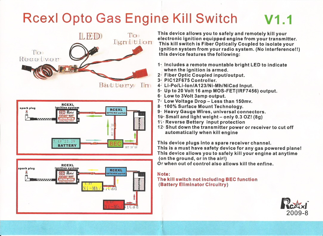 Rcexl Kill Switch Wiring Diagrams Data Base Ignition Switchcar Diagram Nascar Starter Source Opto Gas Engine Rh 8fly It On Car System For