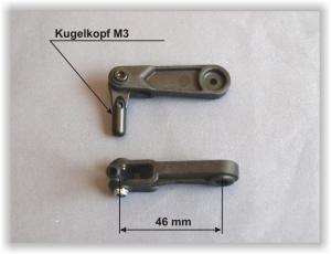 Squadretta CFK doppio braccio 46 mm. c/uniball-JR/Graupner