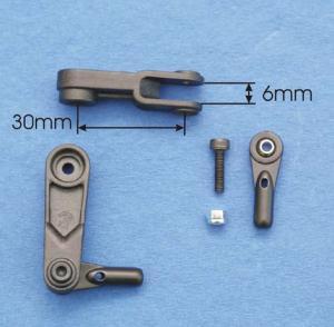 Squadretta CFK doppio braccio 30 mm. c/uniball-Futaba
