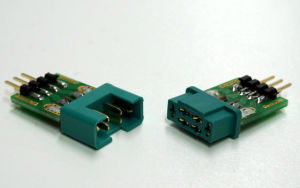 MPX connector with pin strip, plug & socket