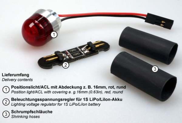OPTOTRONIX Luci di posizione ACL 11mm (0,43in) rotonda bianca